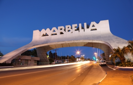 Marbella Arch illuminated at night. Andalusia, Spain Editorial