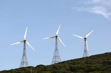 tarifa: Three wind turbines on the hill