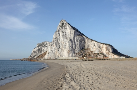 The Rock of Gibraltar from the beach of La Linea, Spain