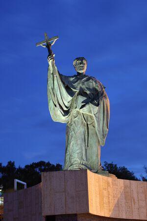 patron: Statue of Sao Goncalo, patron of the city of Lagos. Algarve, Portugal Stock Photo