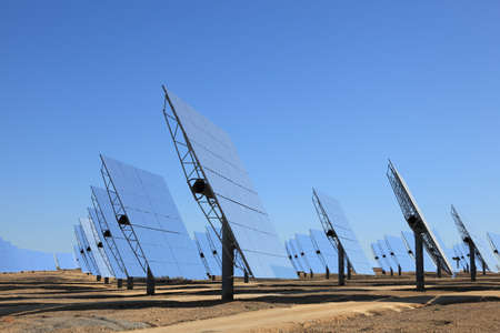 Array of photovoltaic panels of a Solar Power Station Stock Photo