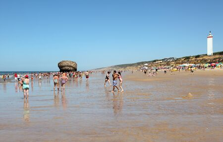 Matalascañas beach with the Torre la Higuera. Huelva Province, Andalusia Spain. Photo taken at 7th of July 2012 Editorial