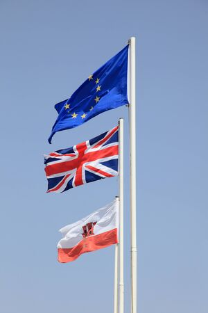 Flags of the European Union, United Kingdom and Gibraltar photo