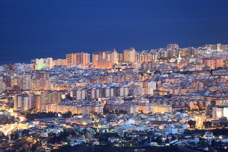 Aerial view of Fuengirola at night, Costa del Sol, Andalusia Spain