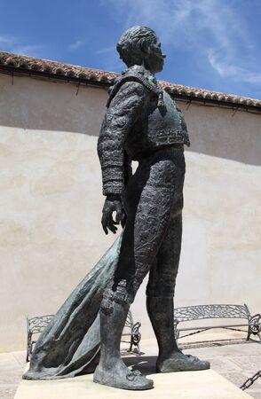 plaza de toros: Statue of the torero Antonio Ordonez in Ronda, Andalusia Spain