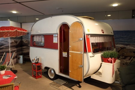 DUESSELDORF - AUGUST 27: Historical Wilk Sport mobile home showed at the Caravan Salon Exhibition 2012 on August 27, 2012 in Düsseldorf, Germany.  Publikacyjne