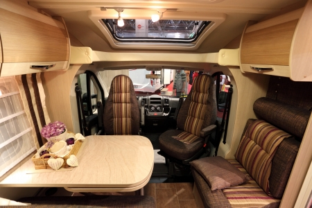 DUSSELDORF - AUGUST 27: Interior of a modern camper van at the Caravan Salon Exhibition 2012 on August 27, 2012 in Dusseldorf, Germany