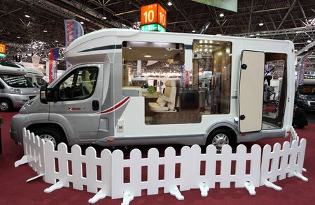 DUSSELDORF - AUGUST 27: Modern motorhome at the Caravan Salon Exhibition 2012 on August 27, 2012 in Dusseldorf, Germany.