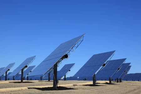 modules: Array of photovoltaic panels of a Solar Power Station Stock Photo