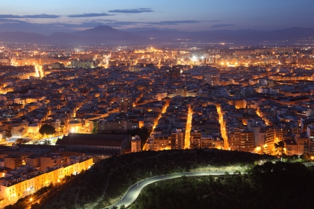 Aerial view of Alicante at dusk. Catalonia, Spain photo