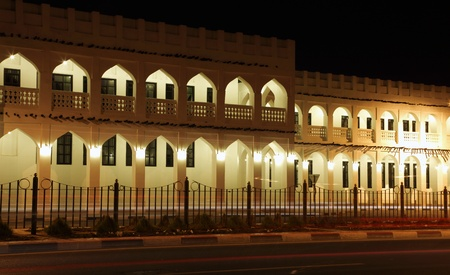 souq: Souq Waqif illuminated at night, Doha Qatar