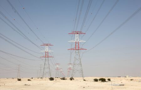power grid: High voltage transmission towers in the desert of Qatar, Middle East