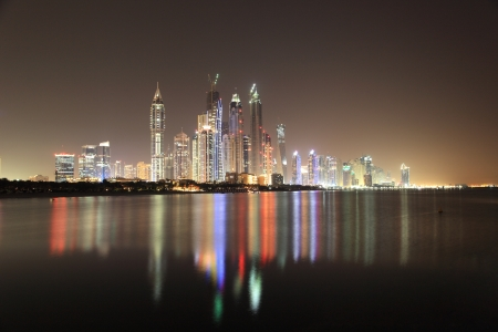 Dubai Marina skyline at night. Dubai, United Arab Emirates Stock Photo