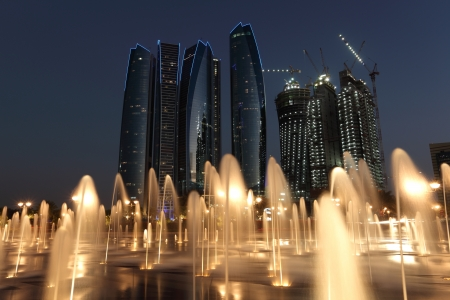 Skyscrapers in Abu Dhabi at dusk, United Arab Emirates Stock Photo - 15310499