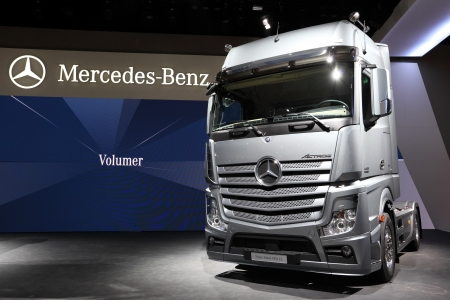 mercedes: HANNOVER - SEP 20: New Mercedes Benz Actros 1851 LS Truck at the International Motor Show for Commercial Vehicles on September 20, 2012 in Hannover Germany
