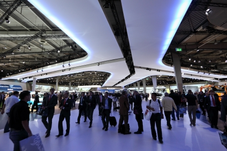 HANNOVER - SEP 20: Visitors at the International Motor Show for Commercial Vehicles on September 20, 2012 in Hannover Germany