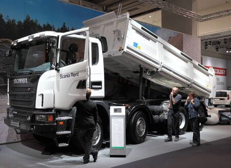 HANNOVER - SEP 20: New Scania Dump Truck at the International Motor Show for Commercial Vehicles on September 20, 2012 in Hannover Germany
