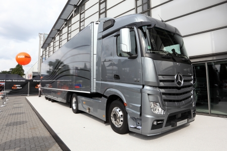daimler: HANNOVER - SEP 20: New Mercedes Benz Aerodynamics Truck at the International Motor Show for Commercial Vehicles on September 20, 2012 in Hannover Germany