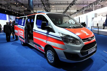 emergency vehicle: HANNOVER - SEP 20: New Ford Transit Custom Van as emergency vehicle at the International Motor Show for Commercial Vehicles on September 20, 2012 in Hannover Germany