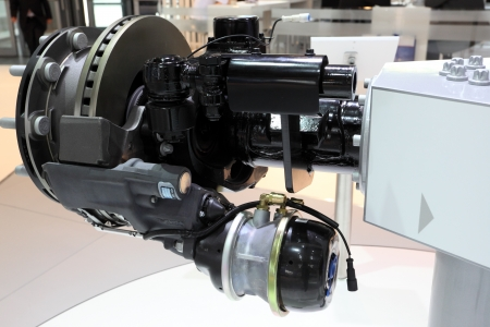 knorr: HANNOVER - SEP 20: Knorr front axle brake system for trucks at the International Motor Show for Commercial Vehicles on September 20, 2012 in Hannover Germany