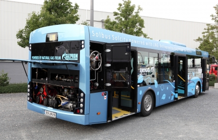 lng: HANNOVER - SEP 20: Solbus powered by LNG Natural Gas at the International Motor Show for Commercial Vehicles on September 20, 2012 in Hannover Germany