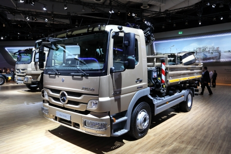 HANNOVER - SEP 20: New Mercedes Benz Atego 1224 Truck at the International Motor Show for Commercial Vehicles on September 20, 2012 in Hannover Germany