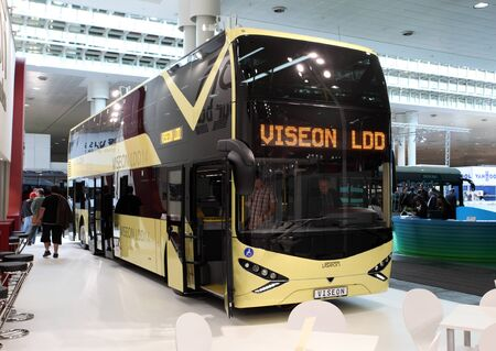 HANNOVER - SEP 20: New Viseon LDD 14 Bus at the International Motor Show for Commercial Vehicles on September 20, 2012 in Hannover Germany Stock Photo - 15484987