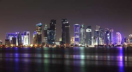 middle east: Doha skyline at night, Qatar, Middle East