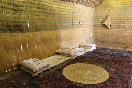 bedouin: Interior of the Bedouin Tent in Abu Dhabi, United Arab Emirates Editorial