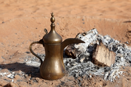 coffee pot: Traditional Arabian Coffee Pot at Bedouin Camp in the desert