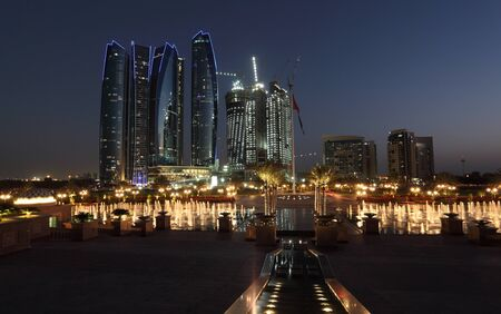 Skyscrapers in Abu Dhabi at dusk, United Arab Emirates Stock Photo - 15735297