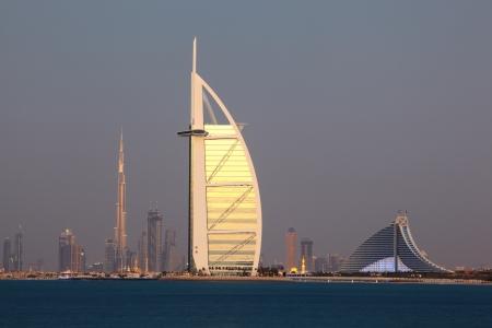 dubai: Dubai skyline at dusk, United Arab Emirates