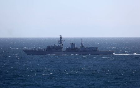 Military ship - a destroyer - in the sea Stock Photo - 16156544
