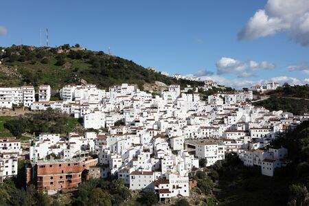 white washed: Andalusian white washed village Casares, southern Spain Stock Photo