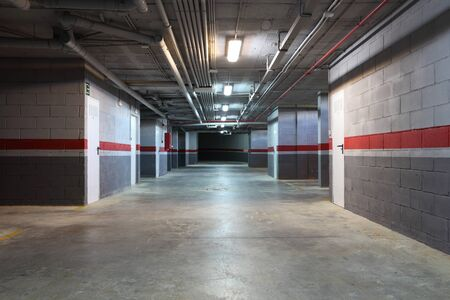 Empty underground garage in a residential building