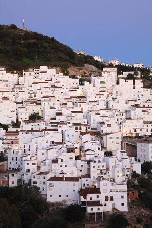 'costa del sol': Andalusian village Casares at dusk. Costa del Sol, Spain