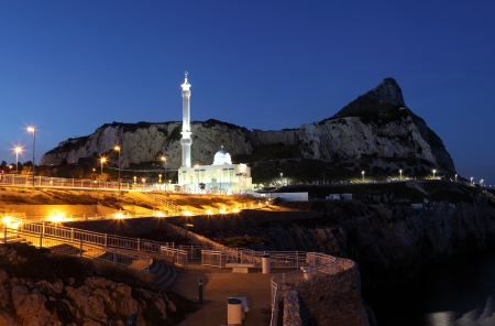 Mosque at the Europa Point in Gibraltar at night photo