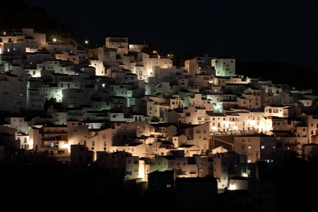 sol: Andalusian village Casares at night. Costa del Sol, Spain