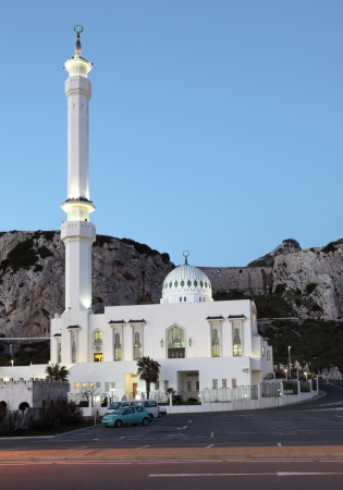 europa: Mosque at the Europa Point in Gibraltar at dusk
