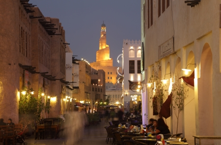 Souq Waqif at dusk, Doha Qatar. Photo taken at 7th of January 2012 Editorial