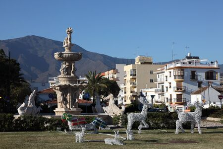 Christmas decoration in roundabout in Estepona, Andalusia, Spain