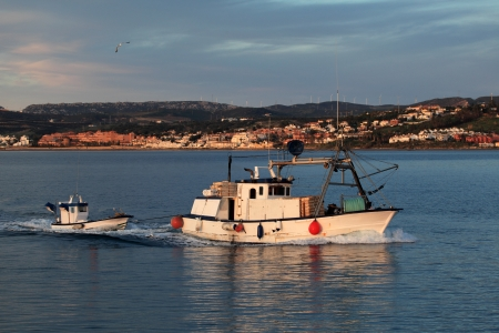 Fishing boat returning to home harbor with lots of seagulls. Estepona, Andalusia, Spain Stock Photo - 17470746
