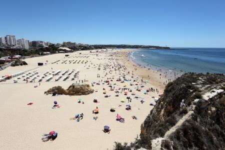 rocha: The famous Algarve beach - Praia da Rocha in Portimao, Portugal