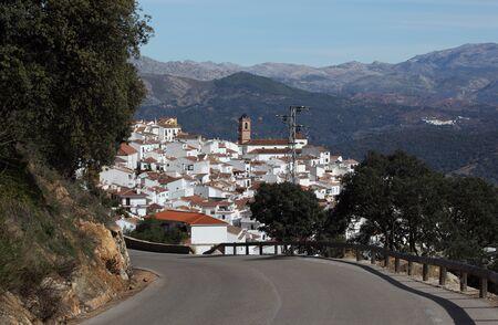mountainscape: Andalusian white village (pueblo blanco) Algatocin, Spain