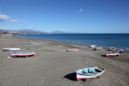 luis: Beach of San Luis de Sabinillas, Costa del Sol, Andalusia, Spain Stock Photo