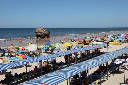 huelva: Matalascanas beach with the Torre la Higuera. Huelva Province, Andalusia Spain