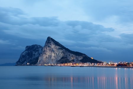 The Rock of Gibraltar at dusk photo
