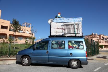 car retailer: Overloaded van on the way to Morocco