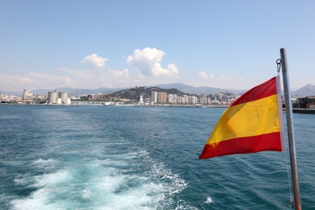 Skyline of Malaga from a tour boat, Spain photo