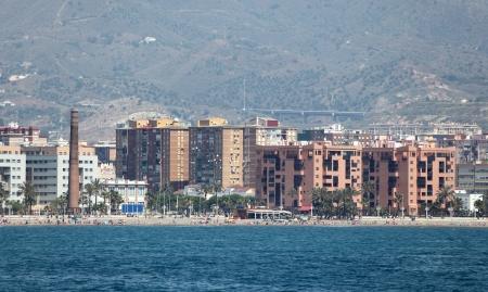 waterside: Waterside buildings in Malaga, Andalusia Spain Stock Photo